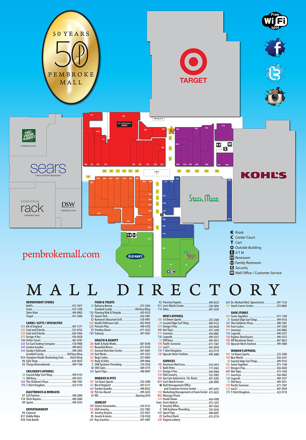 Fashion show mall map stores directory pembroke mall